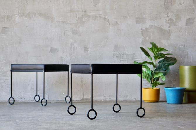 Iron & Leather Stools/Ottomans by FandFVintage