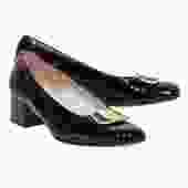 Ferragamo - Black Patent Leather Block Heels w/ Buckle Sz 7