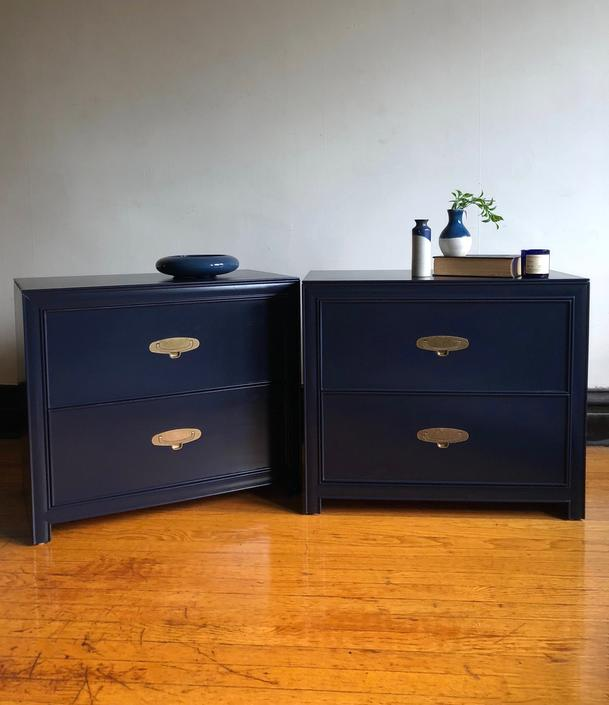 big sale ce6e0 86c38 Pair of Navy Blue Campaign Nightstands//Modern Bedside Tables with  Drawers//Set of Two Matching Vintage Nightstands by RavenswoodRevival