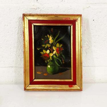Vintage Framed Flowers Original Painting Art Dark Floral Arrangement Gold Wood Frame Painted Oil Acrylic Paint Amateur Painter Still Life by CheckEngineVintage