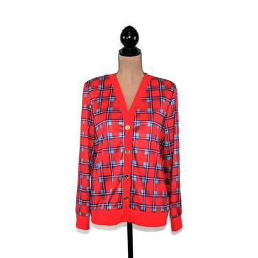80s Light Blue & Red Plaid Cardigan Women Medium, Lightweight Jersey V Neck Button Up Sweater, 1980s Clothes Vintage Clothing from Haband by MagpieandOtis