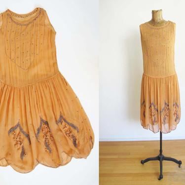 Vintage 1920s Beaded Flapper Dress Small - 20s Chiffon Art Deco Party Dress Dusty Peach Orange - For Study Condition Issues by MILKTEETHS