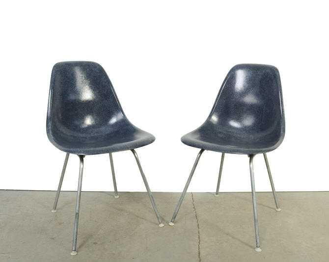 Eames Shell Chair Herman Miller Navy Blue Pair of Fiberglass Shell Chairs on H base by HearthsideHome