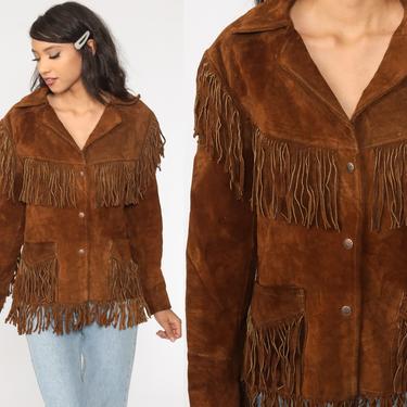 Fringe Leather Jacket 70s Boho Vintage Suede Southwest Jacket Western Brown Hippie Coat Vintage Biker Bohemian Jacket 1970s Medium by ShopExile