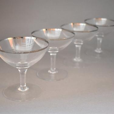 Champagne Saucers Coupes | Platinum-rimmed Glass | Set of Four | Vintage Wine Glasses | MCM Barware | Engagement Bridal Wedding Party Toast by LostandFoundHandwrks