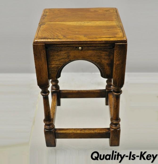 Antique English Jacobean Oak Wood Small Accent Side Table w 4 Pullout Surfaces