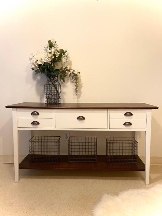 STUNNING refinished farmhouse rustic style sideboard/sofa table/storage/entryway desk/ side table stained top by RelovedFurnitureStor
