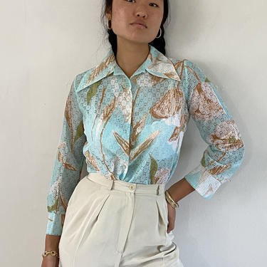 70s sheer mesh blouse / vintage Tiffany blue sheer floral botanical polyester eyelet mesh butterfly pointy collar blouse | S by RecapVintageStudio