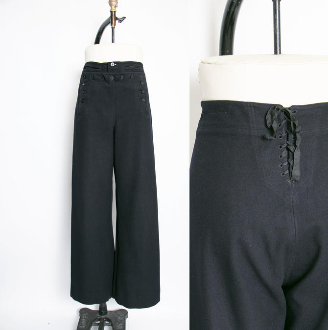 "1950s Sailor Pants Wool High Waist Wide Leg Navy 32"" by dejavintageboutique"