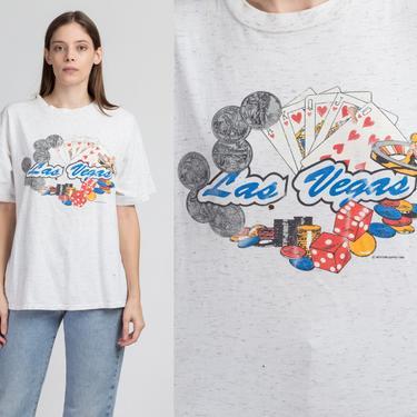 90s Las Vegas Tourist Tee - Large   Vintage Heather Gray Distressed Casino Gambling T Shirt by FlyingAppleVintage