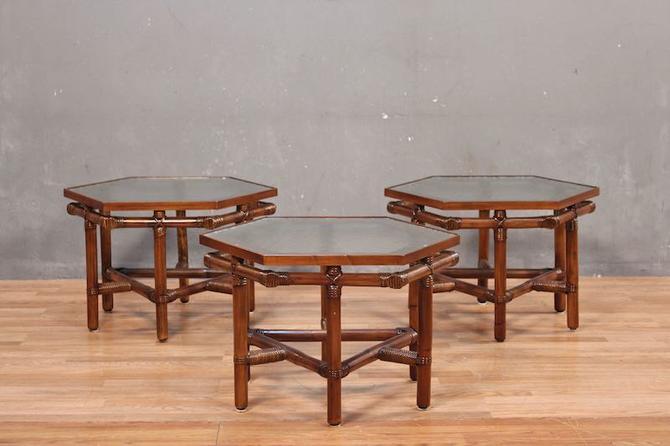 Ficks Reed Mid Century Rattan & Glass Hexagonal Side Table