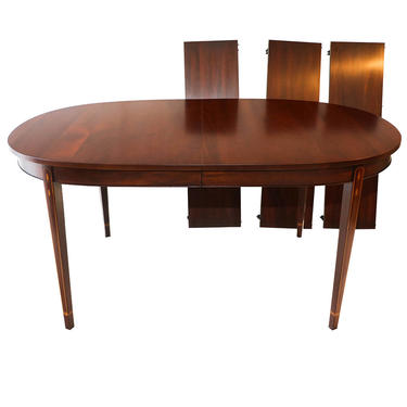 HENKEL HARRIS Inlaid Mahogany Oval Dining Table by Marykaysfurniture