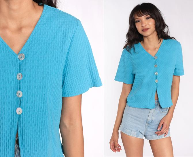 Vintage 90s Blue Top Blouse Button Up Shirt Front Slit Baby Tee Plain Hipster Short Sleeve 1990s Medium Large by ShopExile