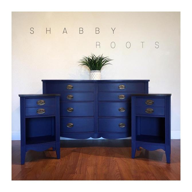 NEW! Antique federal bedroom set in blue. Dresser and two nightstands.  Solid wood bow front. Navy blue / royal blue San Francisco, CA by ...