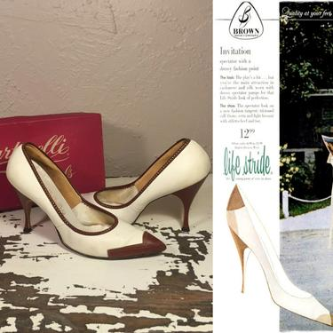 Which Way to the Prado - Vintage 1950s Ivory & Cognac Brown Spectator Leather Shoes Heels - 7 1/2N by RoadsLessTravelled2