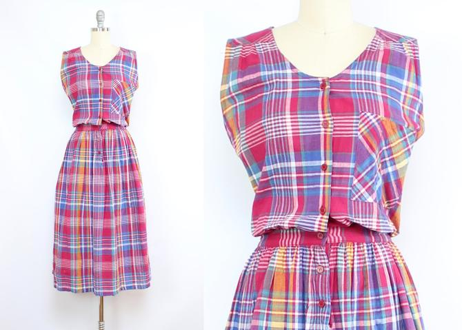 Vintage 80's Madras Plaid Summer Cotton Dress / 1980's Rainbow Plaid  Sun Dress / Women's Size Medium by RubyThreadsVintage