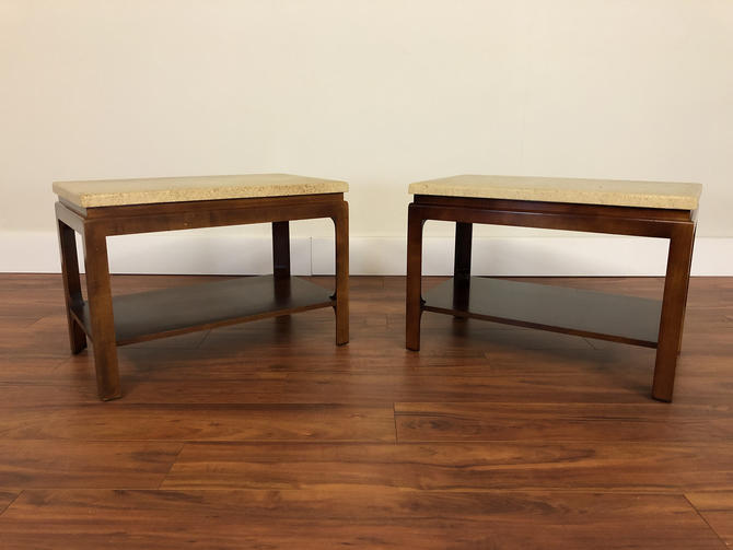 Mid Century Paul Frankl for Johnson Furniture Mahogany and Cork End Tables - a Pair by Vintagefurnitureetc