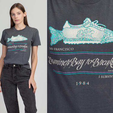 1984 San Francisco Bay To Breakers Race T Shirt - Small   Vintage 80s Fish Running Retro Graphic Tee by FlyingAppleVintage