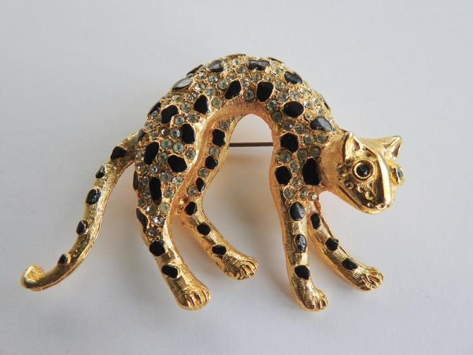 Rhinestone Leopard Brooch by LegendaryBeast