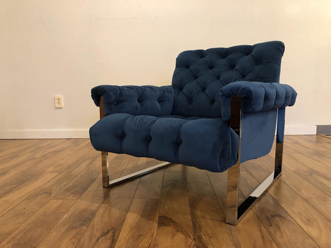 Mid Century Chrome Tufted Lounge Chair, Newly Reupholstered in Fabulous Blue Fabric by Vintagefurnitureetc