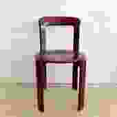 1970s Rey Stacking Chairs in Raspberry Red by Bruno Rey - Set of 6