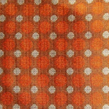 Vintage Mid-Century Fabric Remnant Orange Mandala Polka Dot 1.7 Yds by MetroRetroVintage