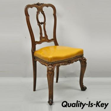 French Louis XV Carved Walnut Cabriole Leg Leather Upholstered Accent Side Chair