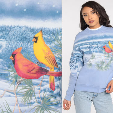 Cardinal Bird Sweatshirt Snow Shirt 80s Sweatshirt 90s Baby Blue Winter Jumper Graphic Retro Pullover 1980s Sweater Medium by ShopExile