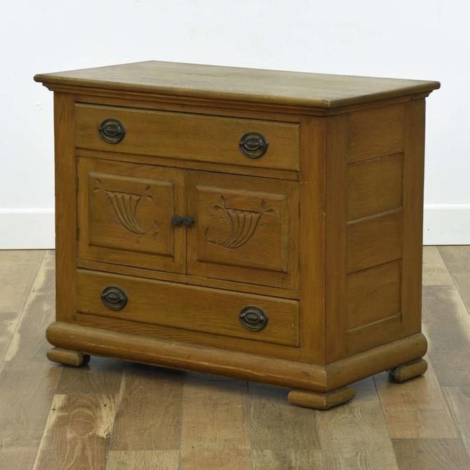 Rustic Carved 2 Drawer Nightstand W/ Cabinet