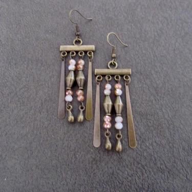 Gypsy chandelier earrings, boho chic earrings, peach crystal earrings, Brass rustic earrings, unique, modern contemporary earrings by Afrocasian
