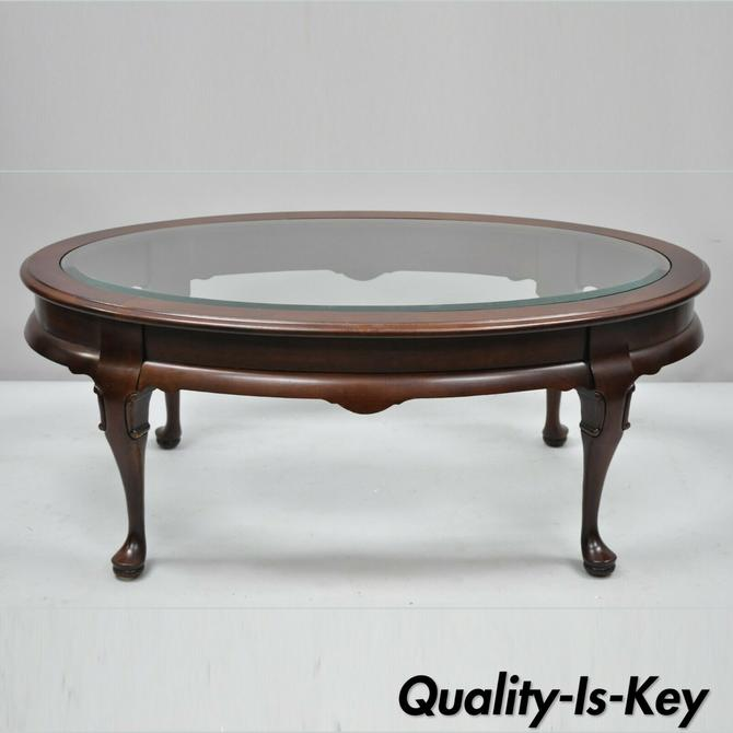 Oval Glass Top Cherry Queen Anne Leg Coffee Table Hammary Carlton