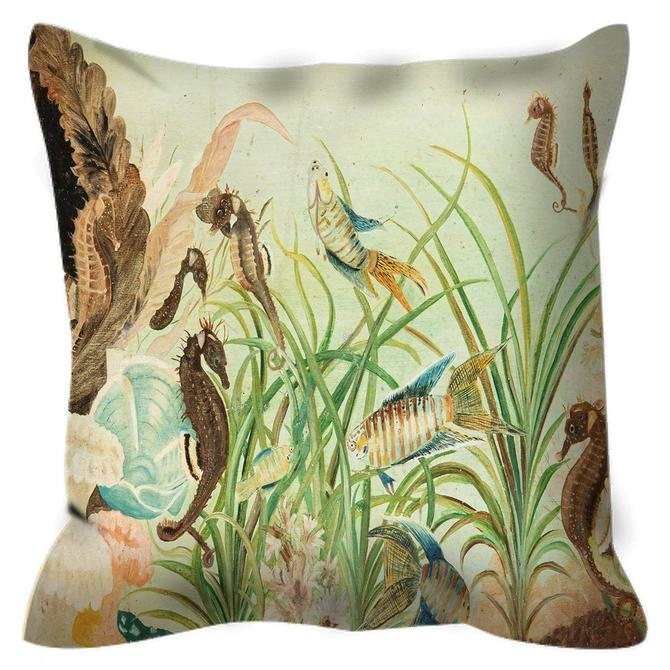 Outdoor Fish Lighthouse Ocean Pillow ~ Nautical Outdoor Pillow ~ Fish Sea Horse Outdoor Pillow ~ Ocean Art ~ Fish Pillow ~ Seahorse Fish Art by DareToBeVintage