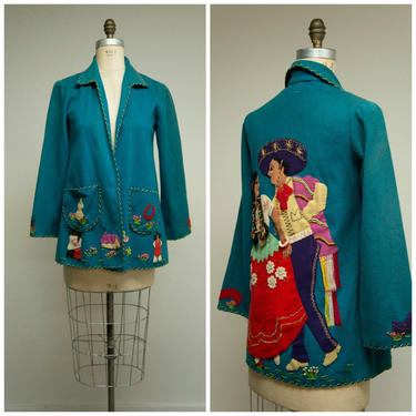 Vintage 1950s Jacket • Romántico • Turquoise Wool 50s Mexican Colorful Applique Tourist Jacket Size Small by SimplyVintageCo