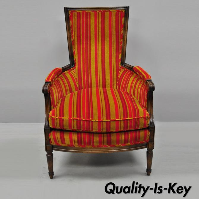 Vintage Hollywood Regency French Louis XVI Style Arm Chair Red & Gold Fabric