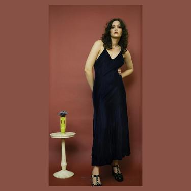vintage 1990s Betsey Johnson Luxe blue velvet maxi dress by FlowerInTheMirror