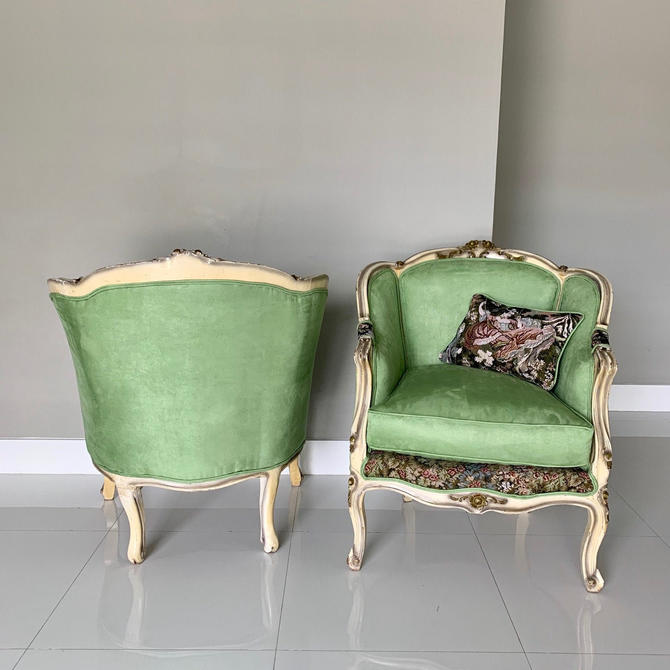 French Chair Vintage Corbeille *2 Available* Vintage Furniture Green Apple Chair French Interior Design Includes Pillow by SittinPrettyByMyleen