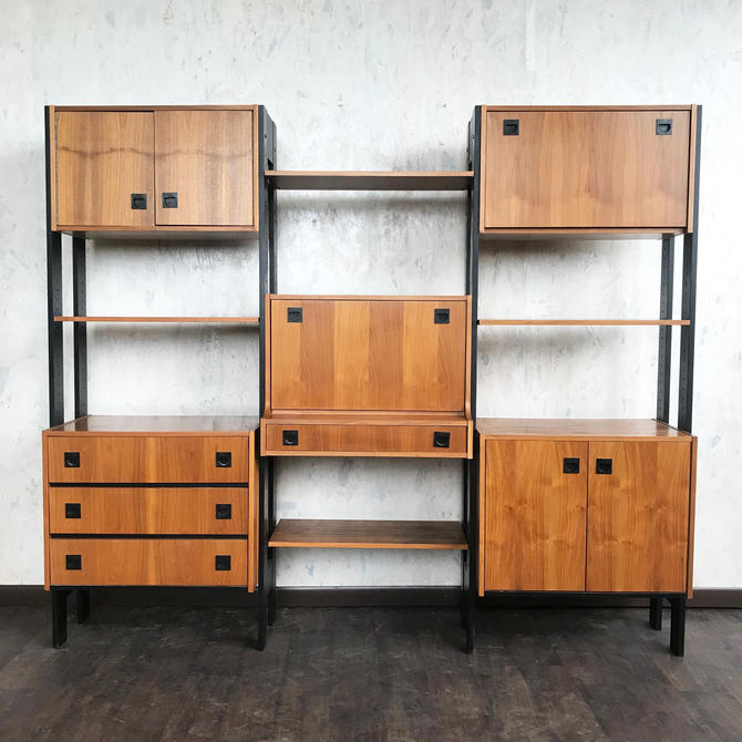 Mid Century Walnut Modular shelving unit
