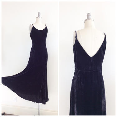 30s Deep Purple Silk Velvet Gown / 1930s Vintage Floor Length Party Dress / Small / Size 4 by CheshireVintageShop