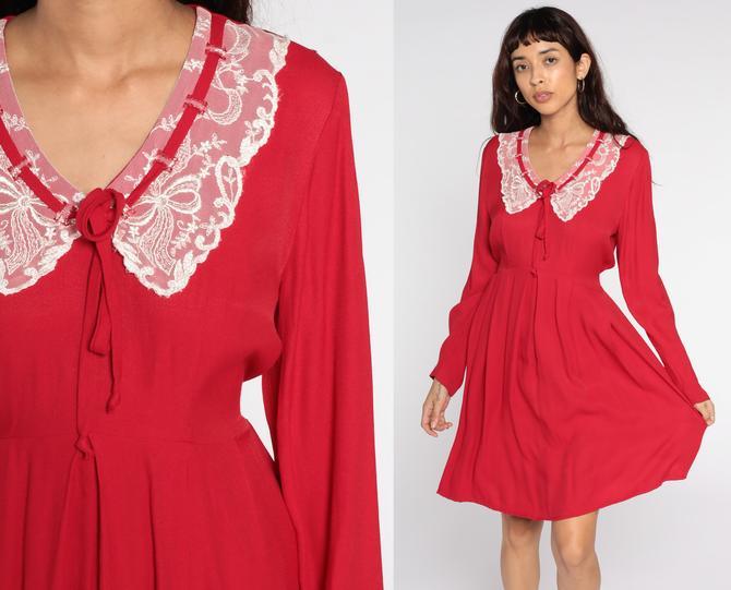 Red Mini Dress Lace Collar Long Sleeve Dress 80s Pleated High Waisted Dress 90s Secretary Vintage White Plain Granny Dress Medium Large by ShopExile