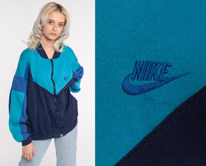 Nike Track Jacket Zip Up Sweatshirt 80s Streetwear Blue Turquoise Retro Striped COLOR BLOCK 1980s Vintage Men's Extra Large xl by ShopExile