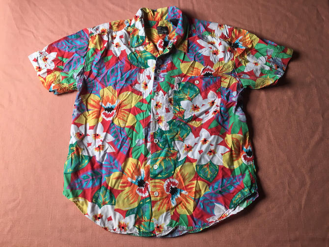 1980s LIZWEAR Hawaiian Shirt Rayon LIZ CLAIBORNE Bright Colors Colorful All Over Floral Print Tropical Flowers Pattern Lei Luau Aloha Spam by AIDSActionCommittee