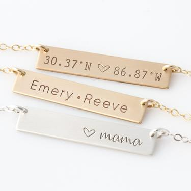 Personalized, Custom Name Bar Necklace •  Keepsake Necklace Perfect For Gifting • Best Friend Gift •  Valentines Jewelry Gift • Galentines by LEILAjewelryshop