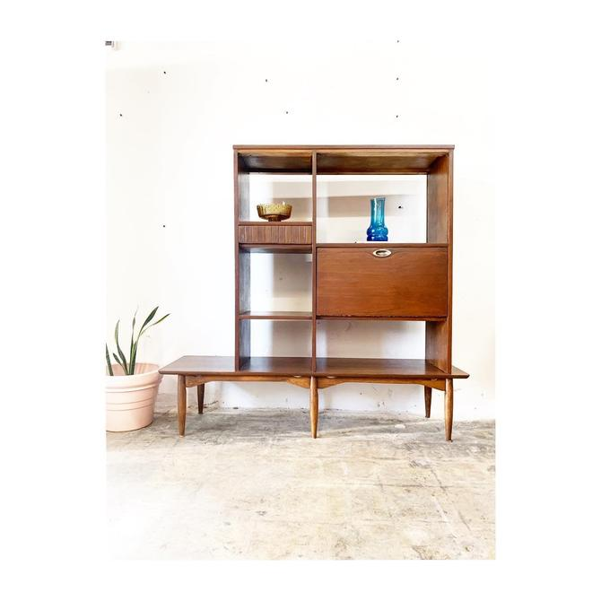Mid Century Modern Bar Bookcase or Room Divider with Drop Down by Hooker by FlipAtik
