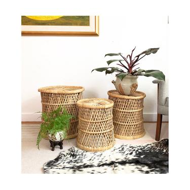 Set of 3 Graduated Wicker Basket Stools or Plant Stands by SergeantSailor