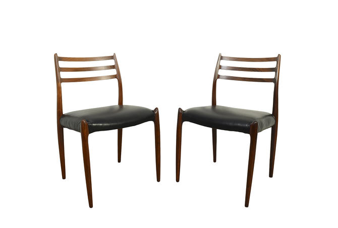 J.L. Moller 2 Rosewood Dining Chairs Model #78 Leather by HearthsideHome