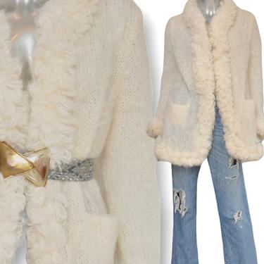 Vintage Cream Angora Fluffy Open Front Cardigan Sweater Size M/L Knit Ruffle 60's by TheUnapologeticSoul
