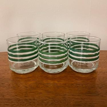Set of 6- Vintage Libbey Mid Century Federal Glass, Lowball Whiskey Cocktail or Juices Glasses, Green and White Stripe, MCM Retro Kitchen by BlackcurrantPreserve