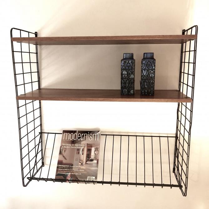 1960s String Shelf with Magazine Rack