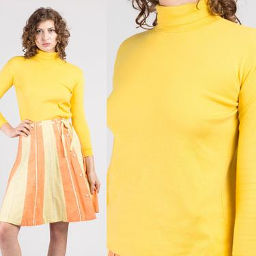 80s Yellow Turtleneck Shirt - Extra Small   Vintage Fitted Long Sleeve Pullover Top by FlyingAppleVintage