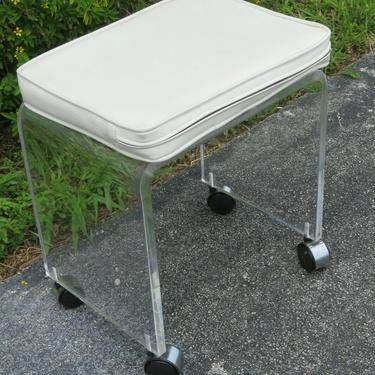 Mid Century Modern Vintage Lucite Vanity Stool Small Bench 2338